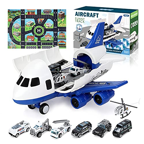 Airplane Toy, Large Transport Cargo Airplane Toy with Learning Play Mat, 8 Sets Die cast Police Mini...