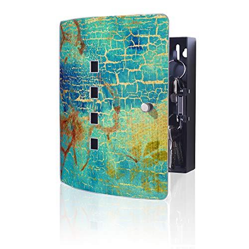 banjado Design Schlüsselkasten aus Edelstahl | 10 Haken für Schlüssel | praktischer Magnetverschluss | 24x21,5cm Motiv Patina