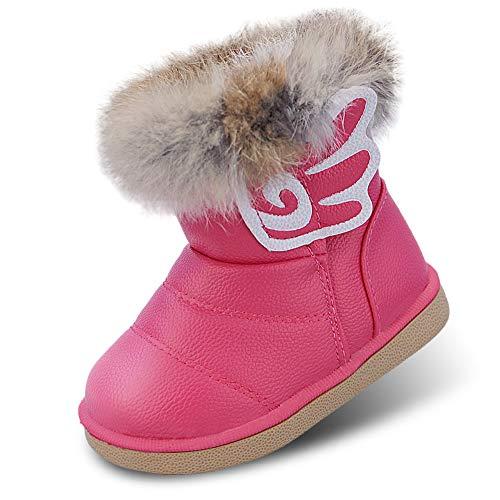 Baby Mädchen Schneestiefel Warme Weiche Winterschuhe Stiefel Winterstiefel mit Baumwolle Gefüttert Leder für Kinder Girls, 23 EU (Größe 25 CN), Rosa