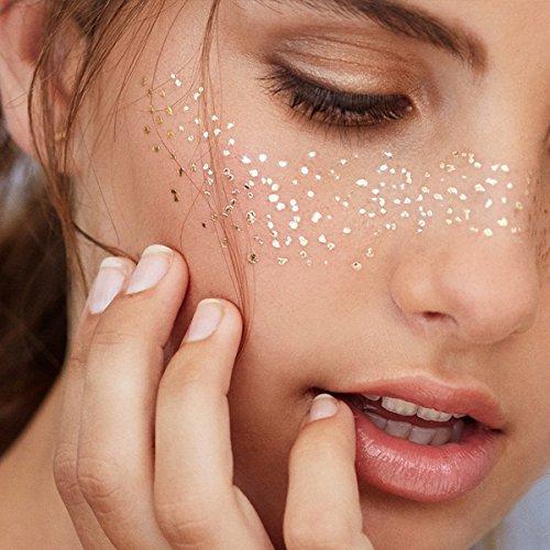 Face Tattoo Face Sticker Tatouage temporaire brillant métallique pour l'effet Glitter, les parties, les spectacles et le maquillage (F17)