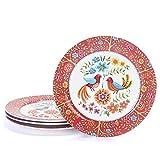 Platos de cerámica Bico de 11 pulgadas, juego de 4, para pasta, ensalada, almuerzo y desayuno, cena, fiesta, evento, microondas y lavavajillas, aptos para microondas y lavavajillas