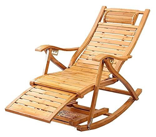 Sedia a Dondolo in bambù Sedia a Sdraio da Giardino Pieghevole reclinabile da Esterno Sedia Relax con poggiapiedi Estensibile e Massaggio ai Piedi (Colore : A) Happy Life
