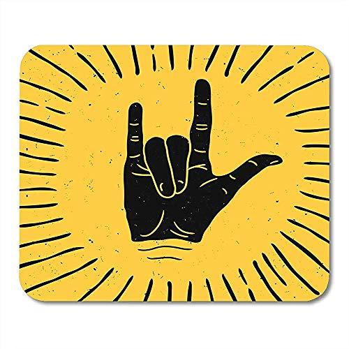 Muis Pads Authentieke Metalen Rock Hand Teken Silhouette Met Stralen Label Tattoo Arm Band Muis Pad Voor Notebooks Computers Muismatten