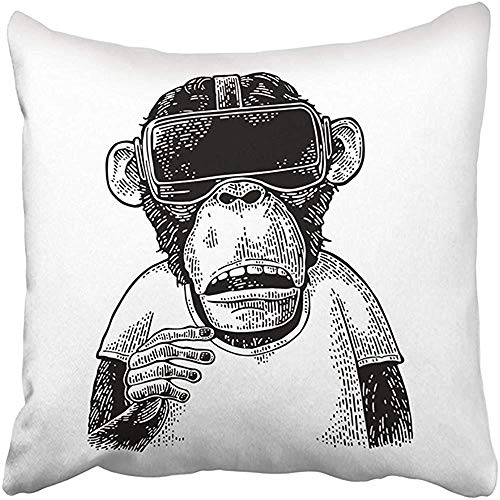 Throw Pillow Cover Human Monkey Wearing Virtual Reality Headset Vintage Black Engraving White Tech Animal Ape Pillowcases 55X55 Cm