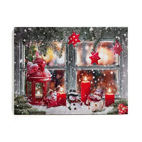 NIKKY HOME LED Weihnachten Leinwand Gemälde Dekorative LED-Leuchten Bild drucken Lebkuchenmann Schneehaus Warme Kerze