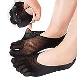 REKYO Donne Toe Socks Calzini Cinque Dito Morbido E Traspirante Low Cut Ankle Socks Calze Di Seta Per Le Donne Ragazze (Black, 5)
