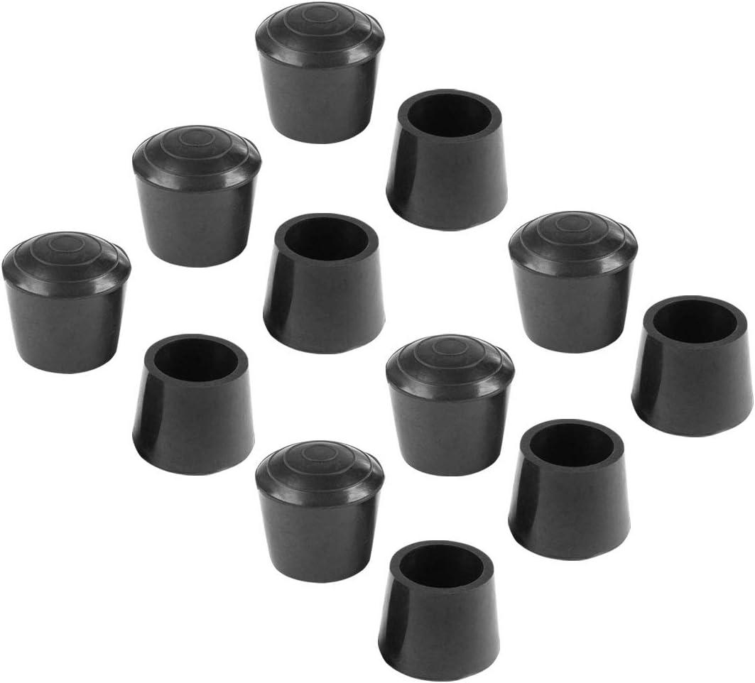 Protector De Piso Deslizante Para Muebles Negro 12 Piezas 12 pcs-10 mm sourcing map Cubierta De Caucho Tapones Extremo De Patas De Mesa 3//8