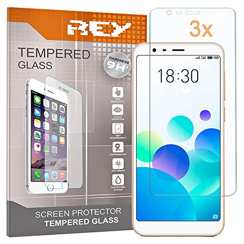 REY 3X Protector de Pantalla para MEIZU M8C, Cristal Vidrio Templado Premium