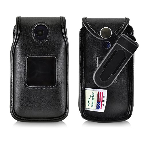 Turtleback Fitted Case for Consumer Cellular Alcatel GO FLIP, Flip V, Phone Black Leather Also for ATT Cingular FLIP2 and T-Mobile 4044W, MYFLIP (A405DL) Ratcheting Removable Belt Clip