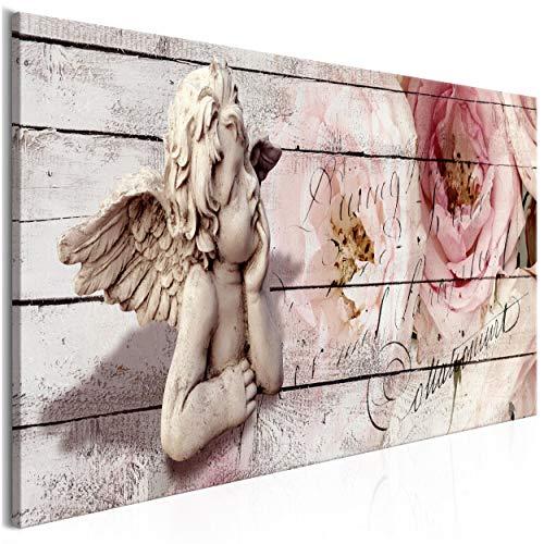 decomonkey Akustikbild Holz Blumen 135x45 cm 1 Teilig Bilder Leinwandbilder Wandbilder XXL Schallschlucker Schallschutz Akustikdämmung Wandbild Deko leise Engel Aufschrift Rose Rosa Beige Brett