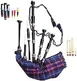 Dudelsack für Anfänger aus Palisander mit silberfarbenen Halterungen, inkl. Tragetasche (Pride of Scotland)
