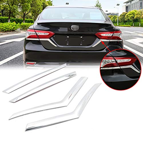 Xotic Tech Chrome Rear Tail Light Eyebrow Cover Trim Strip for Toyota Camry L LE XLE 2017 2018 2019 2020