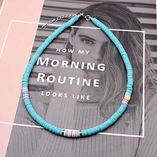 weichuang Collar de arcilla polimérica de 20 colores, collar de cerámica suave, collar de cuentas surferas coloridas, hecho a mano, regalo de joyería Femme (longitud de otro, color de metal: 6 6 mm)
