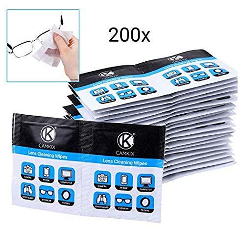 Toallitas limpiadoras de lentes: 200 Envoltura individual Tejidos mojados – Paños polacos húmedos para gafas, gafas de sol, lentes de cámara, pantallas de telefono/tabla, binoculares, etc.