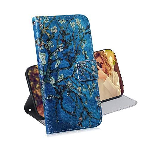 COTDINFOR pour Huawei Y6 2019 Custodia Creativo Dipinto Premium PU in Pelle con Wallet Card Holder Magnetico Ultrasottile Antiurto Flip Custodia per Huawei Y6 2019 Apricot Flower TX-CH.