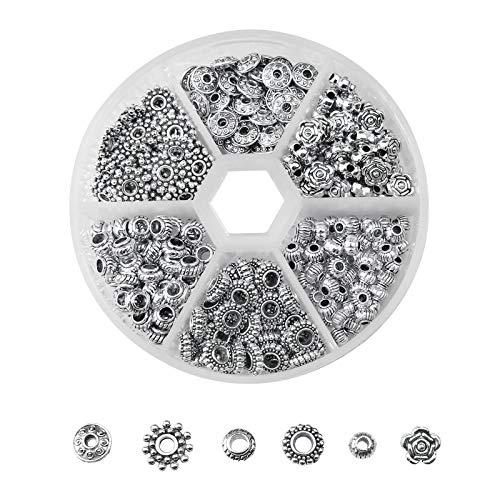 ZoZoMaiy 300 cuentas de aleación tibetana, 6 estilos de plata, espaciadores de metal para pulseras, collares, joyas, manualidades