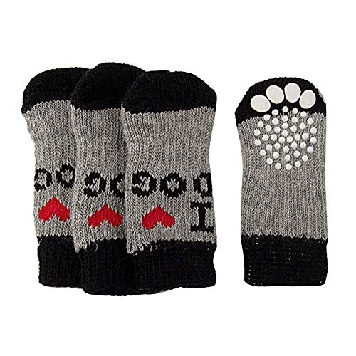 NaiCasy 4 Stück rutschfeste Socken für Hunde und Katzen, mit Gummiverstärkung, warm, weiche Socken für Haustiere, Pfotenschutz, für den Innenbereich, geeignet