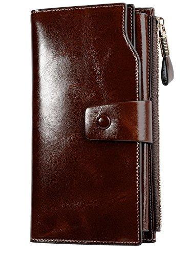 PARVENZA Damen Geldbörse RFID Schutz Portemonnaie Wachs Echtes Leder Geldtasche Kaffee PVZ0702C