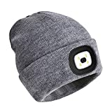 PRAVETTE Upgraded LED Lighted Beanie Hat,USB Rechargeable Hands Free Headlamp Cap,Unisex Winter Warmer Knit Hat with Light for Men,Women (Gray)
