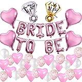 MMTX 45 Stück JGA Deko Ballons Rosa Set Helium Buchstaben Folienballons Bride to BE, Bachelorette...