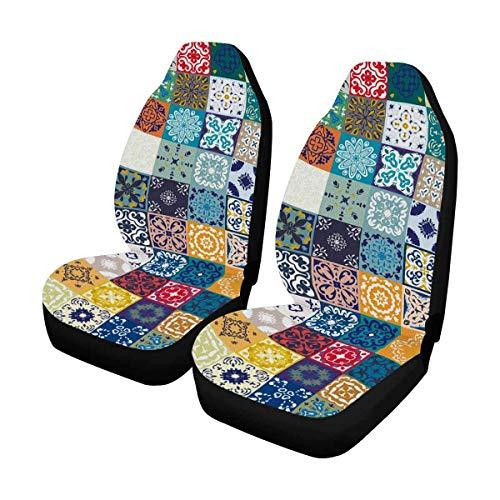 Little Yi Floral Patchwork Fliesen Design Bunte marokkanische Autositzbezug Vordersitze, Universal