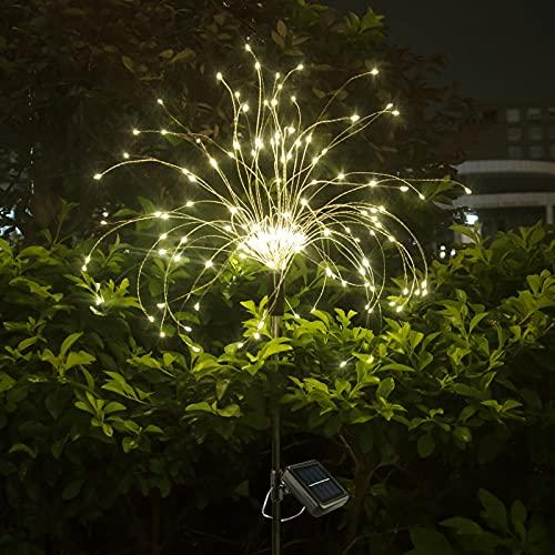 HEJOR Solar Garden Lights, Solar Firework Lights ,Solar Powered String Light with 8 Lighting Modes, DIY Chandelier for Garden, Patio, Yard, Flowerbed, Parties (Warm White)