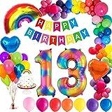 MMTX Decorazioni Compleanno 13 Anni, con Happy Birthday Lettere Alfabeto Balloon, Numero Gigante 13, Palloncino Arcobaleno, Palloncini Foil Cuore e Cake Topper per Il Genere Rivela Ragazze Ragazzo