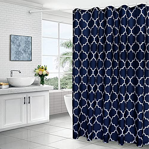 Xikaywnt Geometric Shower Curtain for Bathroom - Fabric Textured Moroccan Waterproof Bathroom Curtain with 12 Hooks, 70 x 72 Inch Navy