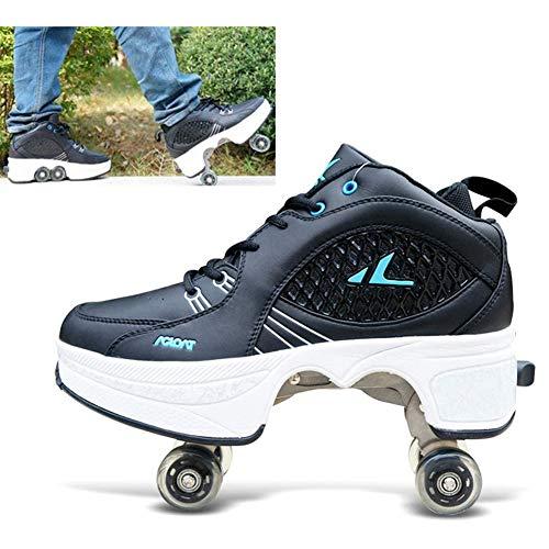 Hmyloz 2 in 1 Verwijderbare Automatische Walking Schoenen Onzichtbare Roller Skate Pulley Skates Schaatsen Dubbele Rij Vervormen Wiel Vervorming Schoenen