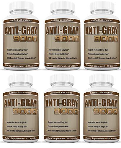 Anti Gray Hair 9000 Helps Restore Natural Hair Color 60 Capsules Per Bottle 6 Pack