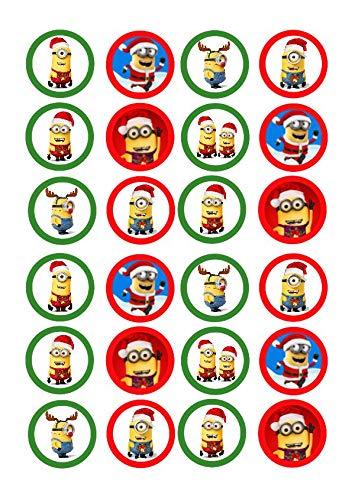 Christmas Minions - Decoración para tartas (24 unidades, precortadas), diseño de Minions