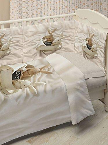 Ipersan Fine-Art, Bunnies In Love,  Set 5 Pezzi Copripiumino Fotografico per Lettino, Piazzato, Cotone, Beige