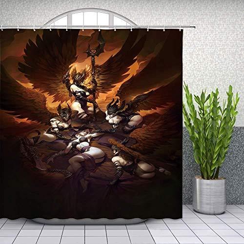 None brand Sexy Duschvorhang Military Angel Coole kreative mythische Design Badezimmer Vorhänge-180X200cm