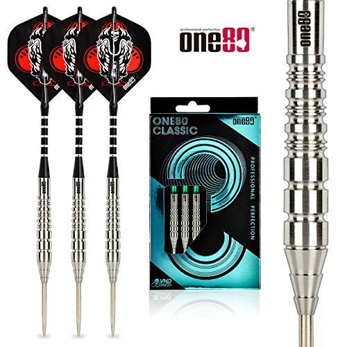 ONE80 Dartpfeile, 90% Wolfram, professionelle Stahlspitze, Aufbewahrungstasche, 90% Tungsten Darts Set