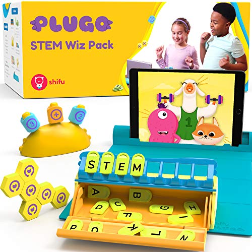 Shifu - Plugo MINT-Pack | Count, Letters & Link | Mathematik, Wortbau, Magnetblöcke, Puzzles & Spiele | Alter 5-10 Jahre Interaktives Spielzeug | Pädagogisches Geschenk Jungen & Mädchen (App-basiert)