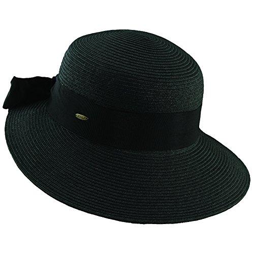 Scala Stroh Sonnenhut mit Ripsband Hutband - Schwarz - One Size