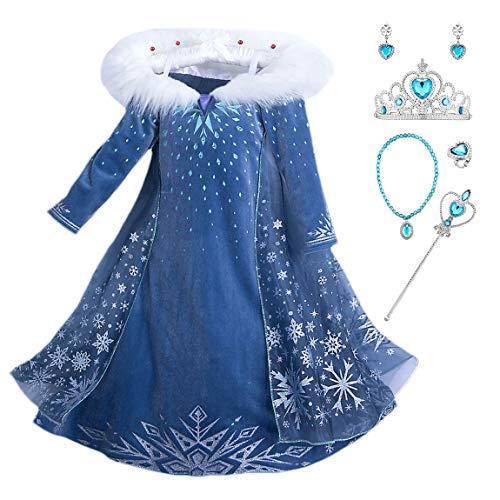 New front Carnevale Elsa Vestito Set, Costume Blu Vestito Abito da Principessa per la Festa Invernale, Bambina Costume con Colletto Cosplay Abiti Gonna Corona Bacchetta magica Orecchino Collana