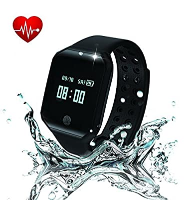 KMKJ Heart Rate Fitness Tracker, Z66 Pedometer Activity Tracker, Sleep Monitor Fitness Watch, Waterproof Bluetooth Smart Bracelet with Replacement Red Band for Android or iOS Phones