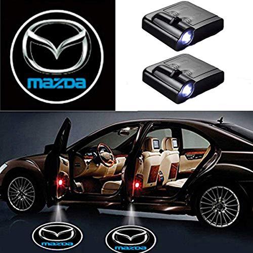 AllRing 2 Stücke Drahtlose Autotür Led Willkommen Laser Projektor Logo Licht Geist Schatten Licht Lampe Logos (Mazda)