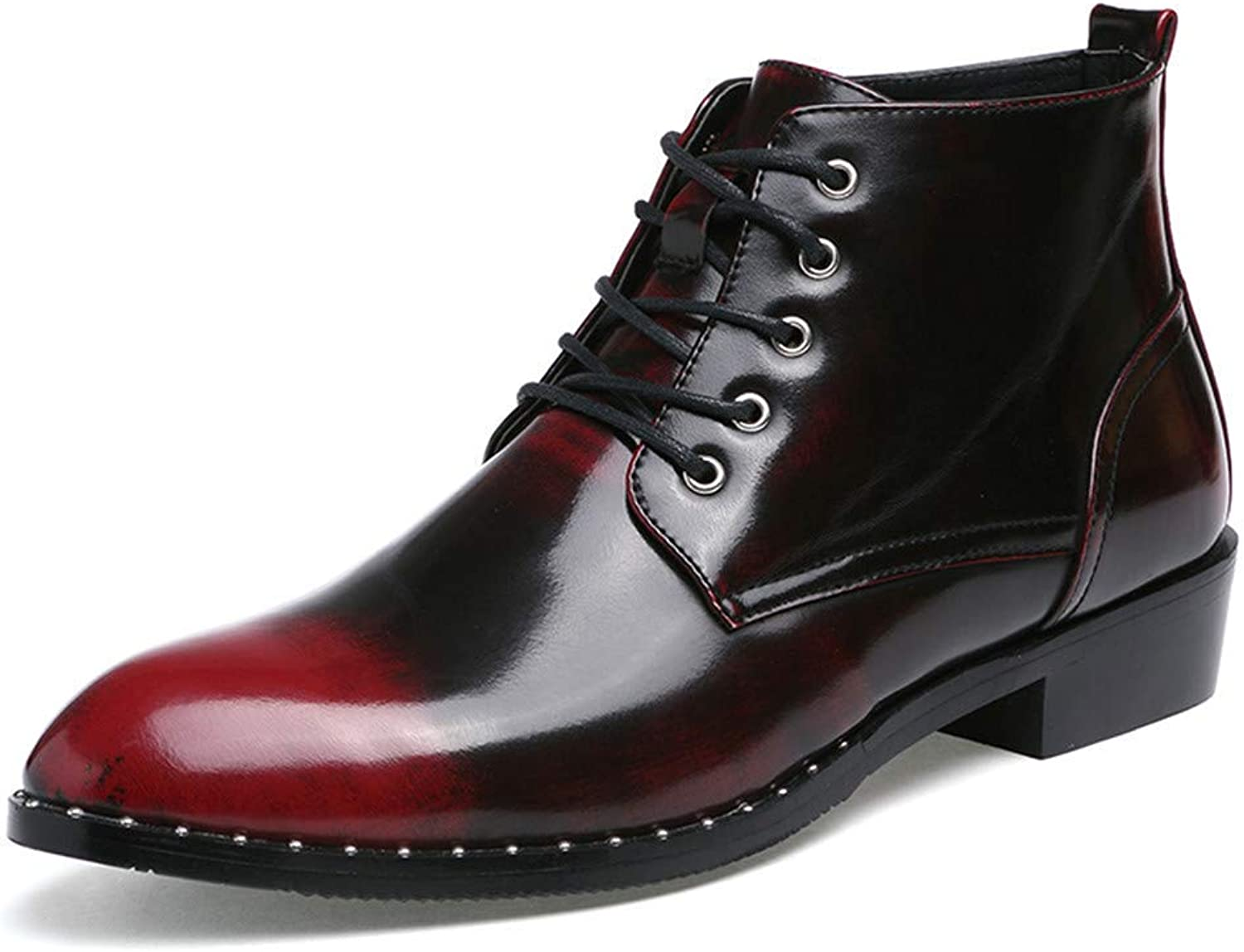 FuweiEncore 2018 Men Business Oxford Casual Autumn Winter New Vintage High-Top Lace Formal shoes (color  Silver, Size  38 EU) (color   Red, Size   42 EU)