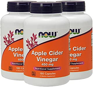 Now Foods - Apple Cider Vinegar 450 mg 180 Capsules (Pack of 3), 540 Count total