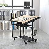 Flash Furniture Mesa de Dibujo Ajustable y Dibujo con Marco Negro y Ruedas de Doble...