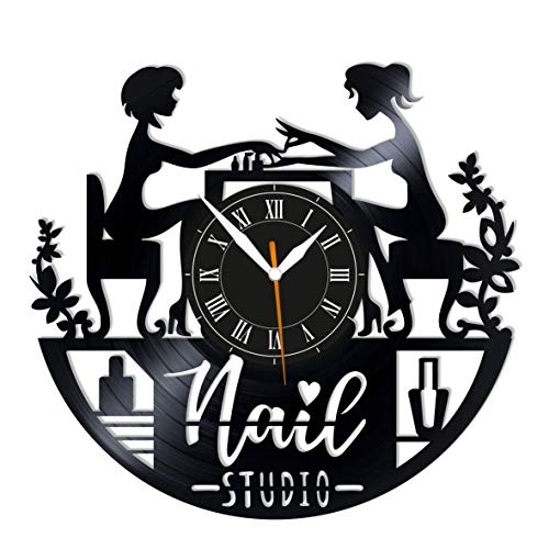 "Leooolukkin Nail Studio Vinyl Clock, Nail Studio Wall Clock 12"", Original Gifts for Fans Nail Studio, The Best Home Decorations"