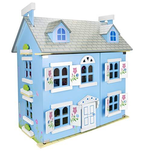 Leomark Alpine Villa Puppenhaus aus Holz mit Möbeln und Familie - Farbe Blue - Familienhaus mit möbel mit zubehör, für Kinder, Höhe 60 cm