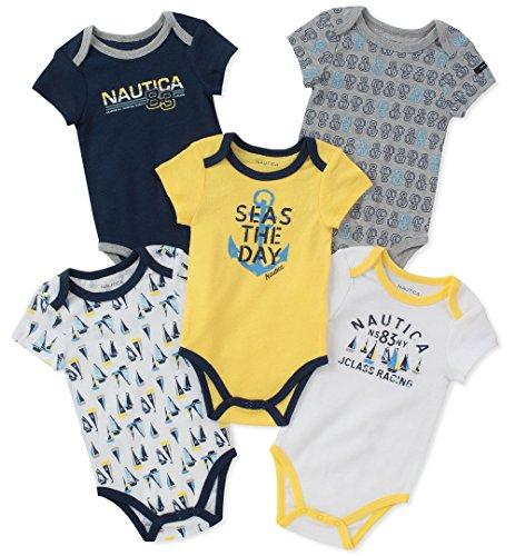 Nautica Baby Boys 5 Packs Bodysuits, Yellow/Navy/Gray, 6-9 Months