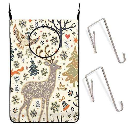 N\A Door Wall Hanging Laundry Hamper Bag, Winter Holiday Christmas Tree Deer Space Saving Dirty Clothes Bag Oxford Fabric Storage Basket with 4 Hooks for Closet Behind Doors Bathroom Kids Bedroom
