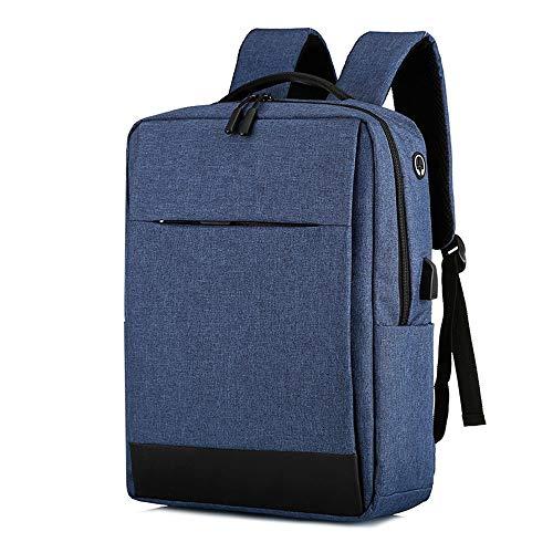 Vinteen Männer Rucksack Wasserdichte Oxford Tuch Schultasche Casual Dayback Umhängetasche Kopfhörer Stecker Reise Daypack Computer (Color : Blue)