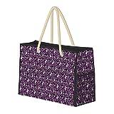 Bolsa de playa grande y bolsa de viaje para mujer – Bolsa de piscina con asas, bolsa de semana y bolsa de noche – Husky Seattle perros en Seattle lindo perro morado oscuro