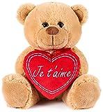 BRUBAKER - Peluche Douce - Ours / Nounours avec Cœur 'Je t'aime' - 25 cm - Brun Clair