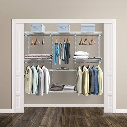 Tangkula Custom Closet Organizer System, Wall Mounted Closet System with Hanging Rod, Metal Hanging Storage Organizer Rack Wardrobe with Shelves, Adjustable Closet Organizer Kit for Bedroom (White)